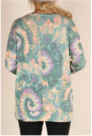 CP-B {Too Cool For You} Teal, Tan, Purple Tie Dye Lace Detail Top PLUS SIZE XL 2X 3X