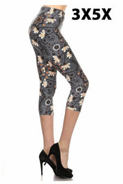 Leg-37 {Midnight Blooms} Multi Floral Capri Leggings EXTENDED PLUS SIZE 3X/5X