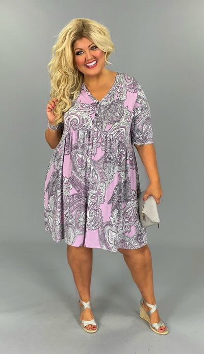 PSS-X (Sparks Fly) Pasiley Babydoll Dress  Button Detail PLUS SIZE 1X 2X 3X