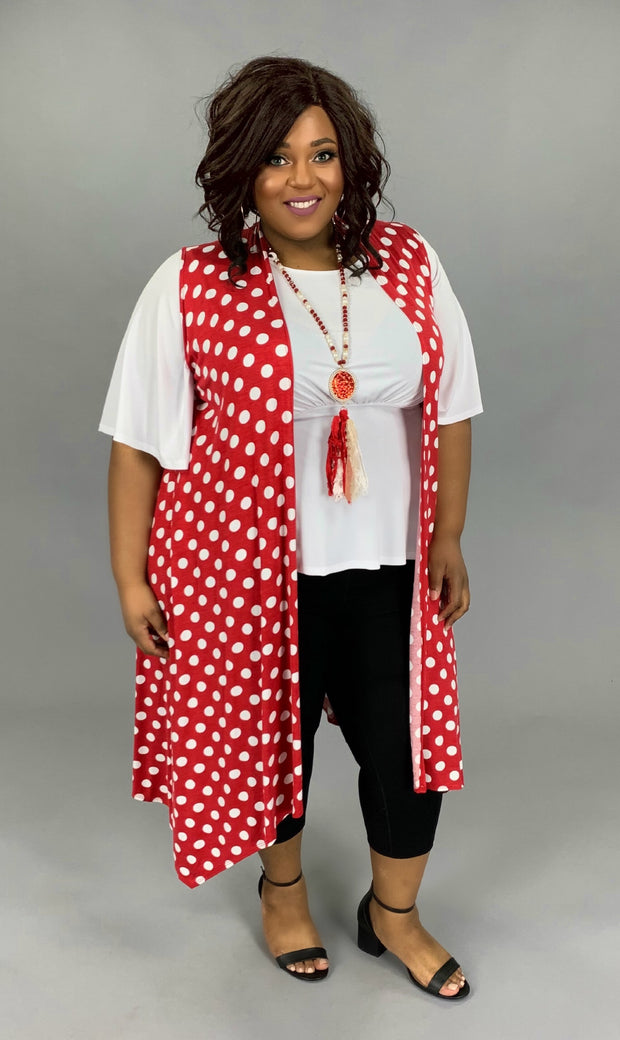 OT-T {Red Your Mind} Polka-Dot Vest PLUS SIZE 1X 2X 3X