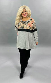 36 CP-G {Enjoying Today}  SALE!! Grey Rust Printed Tunic CURVY BRAND EXTENDED PLUS SIZE 3X 4X 5X 6X