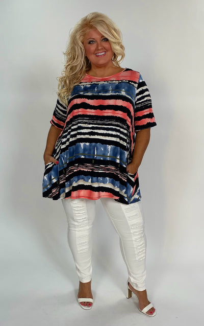 PSS-B {Simple & Sweet} Black Multi-Color Striped Tunic W/ Pockets Extended Plus