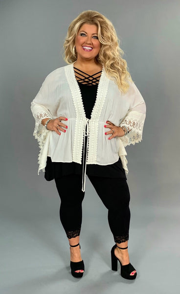 OT-E {First Impression} White Tie-Front Cardigan with Crochet Detail