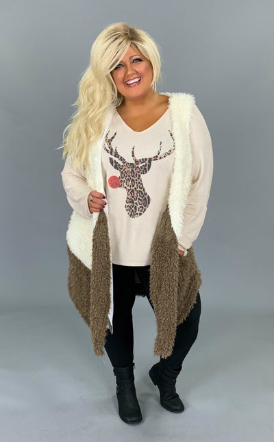 OT-B {Fall Time Vibes} Faux Fur Two-Tone Vest with Pockets PLUS SIZE 1X 2X 3X SALE!!