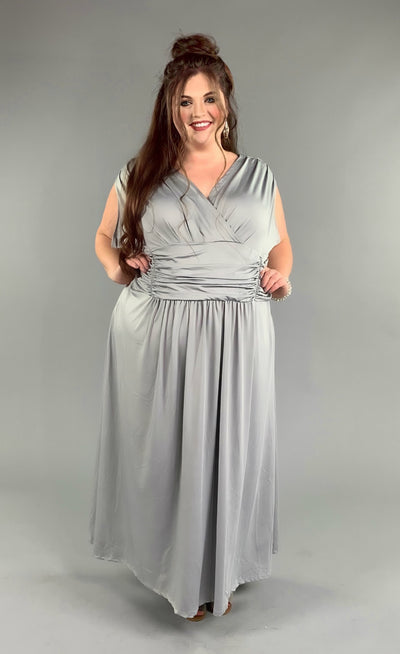 LD-L {The Untold Story}  SALE!! Silver Maxi Dress with Ruched Waist Detail EXTENDED PLUS SIZE 6X