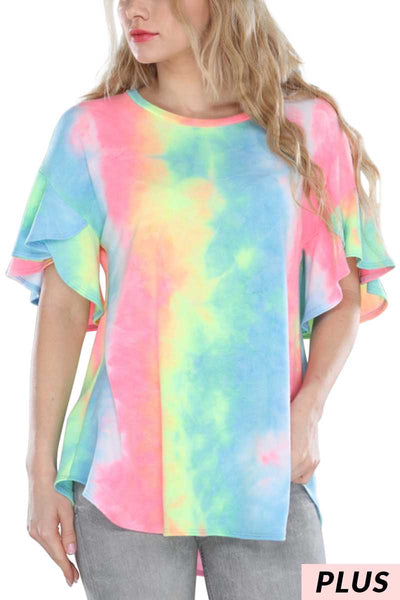54 PQ-Q {Heart Flutters} Pink Blue Yellow Tie Dye Tunic PLUS SIZE 1X 2X 3X