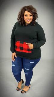 HD-W {Heard About You} Black Hoodie with Buffalo Plaid SALE!!