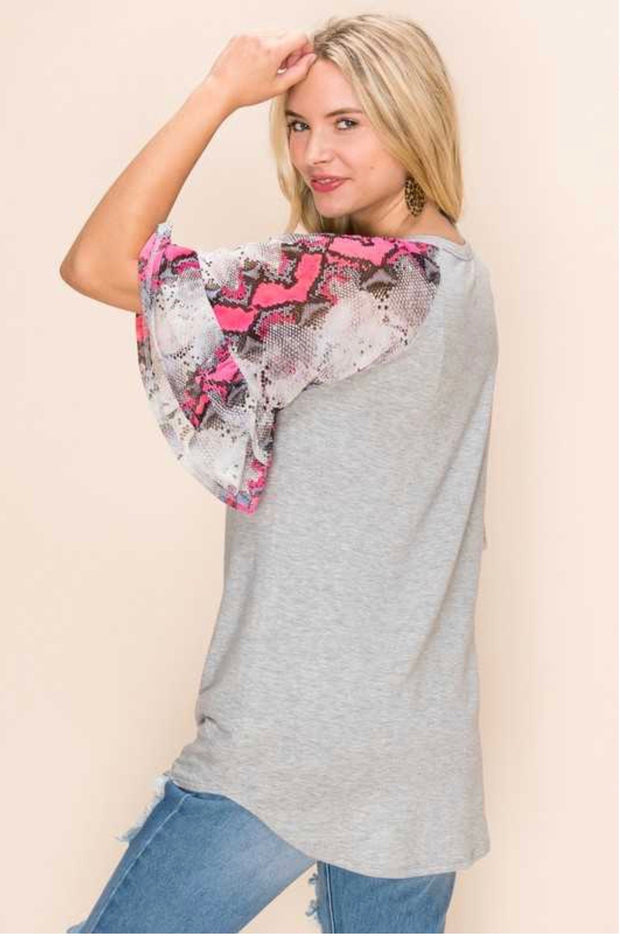 48 CP-A {Simply Wild} Grey Hot Pink Snake Skin  Sleeve PLUS SIZE XL 2X 3X
