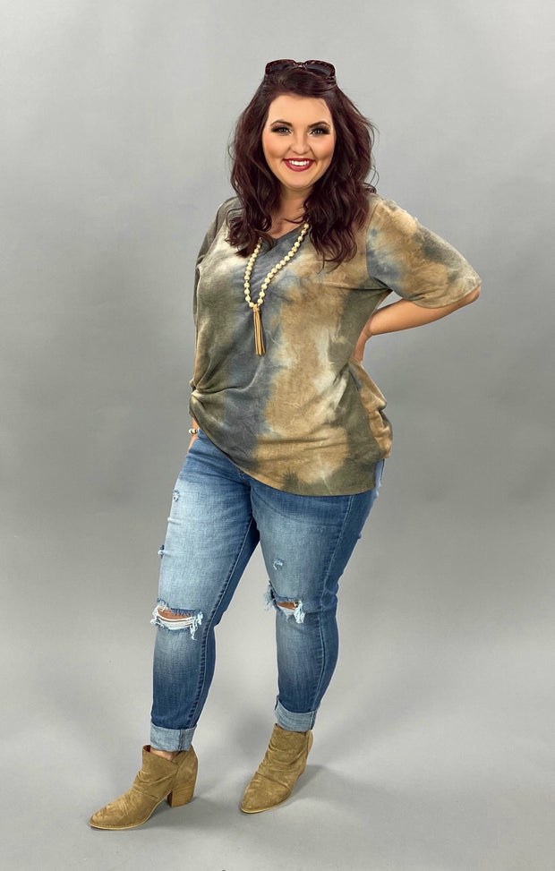 PSS-X {Better With You} Mocha Navy Tie Dye V-Neck Tunic CURVY BRAND EXTENDED PLUS SIZE 3X 4X 5X 6X