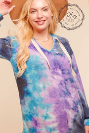 25 HD-J {Hello Again} Blue Purple Tie Dye Hoodie PLUS SIZE XL 2X 3X