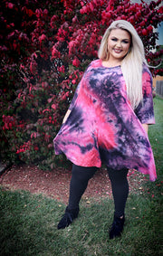 PQ-Z {All Or Nothing} SALE!! Pink Red Purple Tie Dye Dress BUTTER SOFT EXTENDED PLUS SIZE 4X 5X 6X