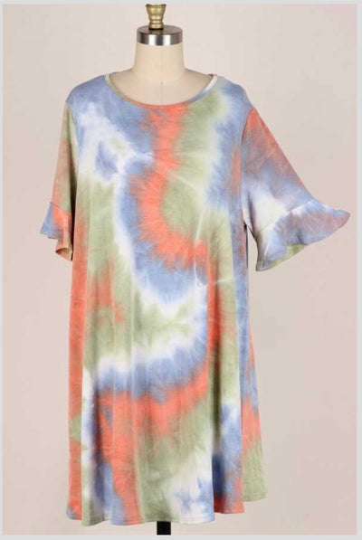 53 PSS-X {Heart of the Earth}  Tie Dye Dress Ruffled Sleeves Extended Plus 3X 4X 5X