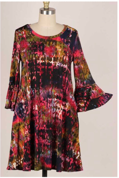PQ-C {Not To Worry} Rose Green Printed Bell Sleeve Dress PLUS SIZE XL 2X 3X