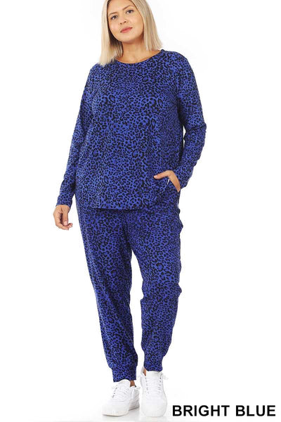12-16 SET-B {Jungle Escape}  SALE!! Royal Blue Leopard Lounge Set PLUS SIZE XL 2X 3X