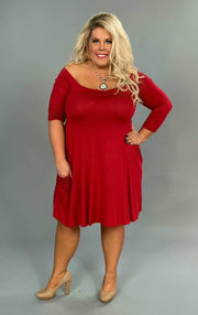SQ-O Red Off-Shoulder Flared Dress with Side Pockets