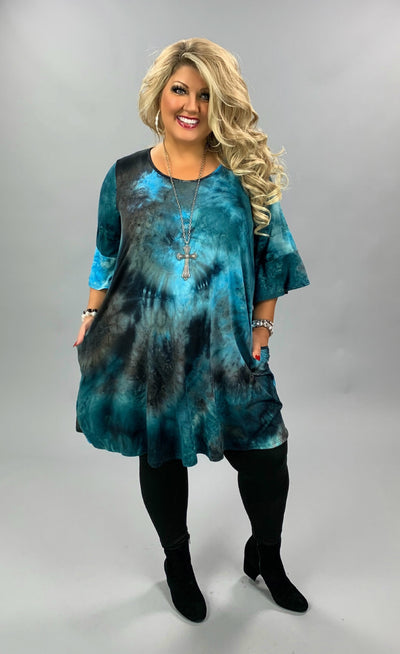 PQ-S {City Life} Teal Black Tie Dye Bell Sleeve Dress BUTTER SOFT CURVY BRAND EXTENDED PLUS SIZE 3X 4X 5X 6X