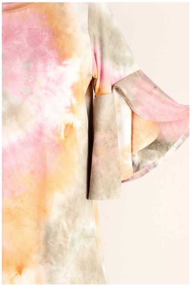 PQ-M {Better Be Sure} Mocha Pink Tie Dye Bell Sleeve Tunic BUTTER SOFT EXTENDED PLUS SIZE 4X 5X 6X