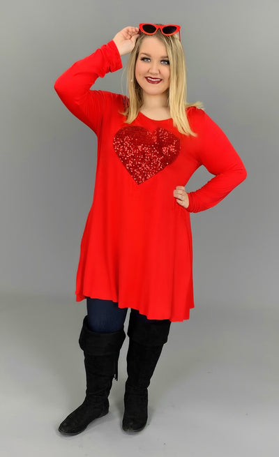 GT-V {So In Love} Red Long Sleeved with Sequined Heart SALE!!
