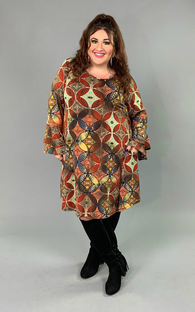 PQ-M {Something Wonderful} Fall Printed Dress with Pockets  SALE!!