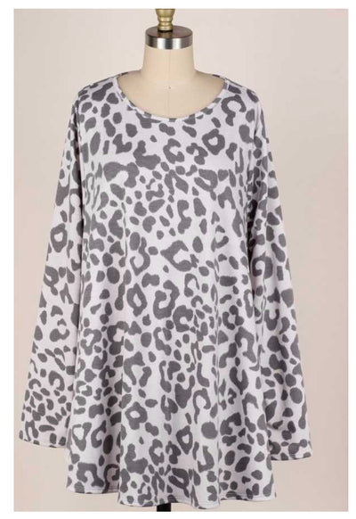 PLS-S {Chic Intuition} Grey Animal Print Knit Tunic EXTENDED PLUS SIZE 3X 4X 5X