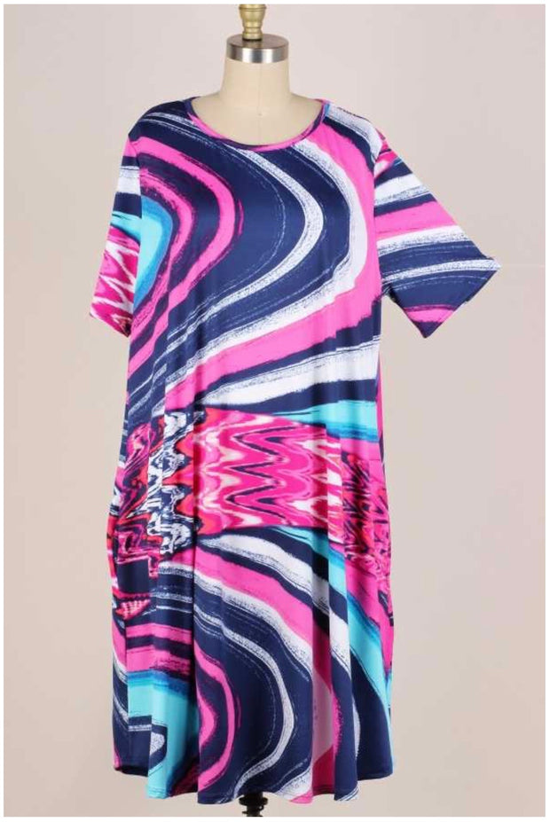 61 LD-R {High Tides} Multi Color Dress with Pockets EXTENDED PLUS 3X 4X 5X