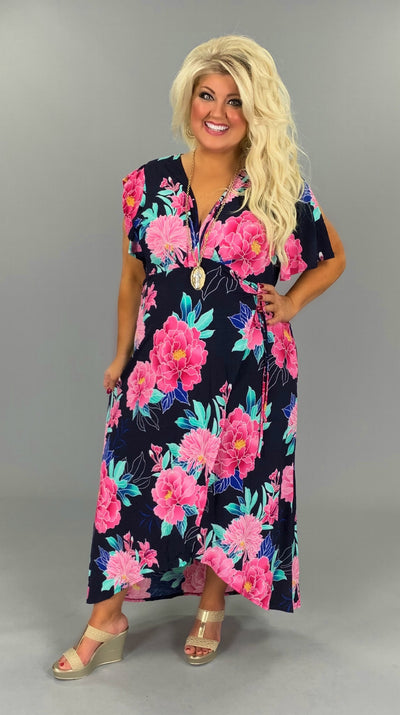 LD-F {It's A Wrap} Navy/Pink Floral Dress PLUS SIZE 1X 2X 3X