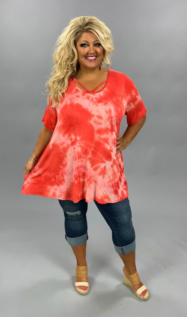 PSS-G {Red Hot Mama} Red Tie Dye Cross Neck Tunic CURVY BRAND EXTENDED PLUS SIZE 3X 4X 5X 6X