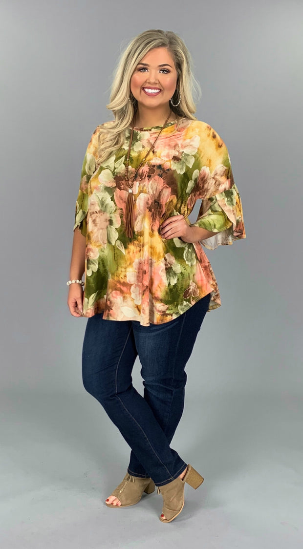 PQ-R {Clear My Schedule} Olive/Peach Floral Print Top