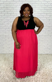 LD-O {Ladylike} Black/Hot Pink Maxi Dress PLUS SIZE 1X 2X 3X SALE!!