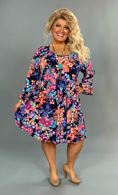 PQ-E {Spring Flowers In Bloom} Floral Print Babydoll Dress Extended Plus