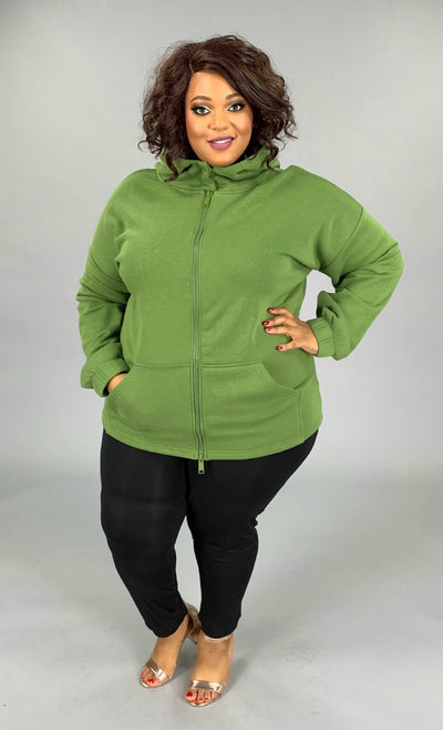 OT-L {Comfy Chic} Light Olive Hoodie Jacket Full Zipper PLUS SIZE 1X 2X 3X