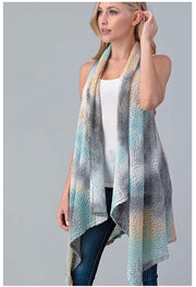 OT-H {After The Storm Passes} Slate/Mint/Tan Tie-Dye Vest PLUS SIZE 1X 2X 3X