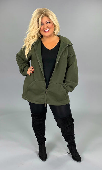 OT-R {Comfy Chic} Dark Olive Hoodie Jacket with Full Zipper PLUS SIZE 1X 2X 3X