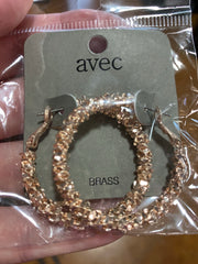 EAR-A {Broadway Bling} Metal Beads Hoop Earrings