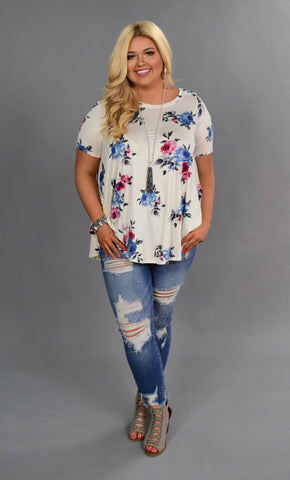 PSS-B {Alive & Well} Loose-Fitting Ivory/Blue Floral Top
