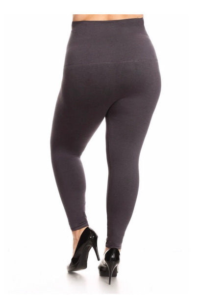 LEG/8- French-Terry GRAY Tummy Control Leggings