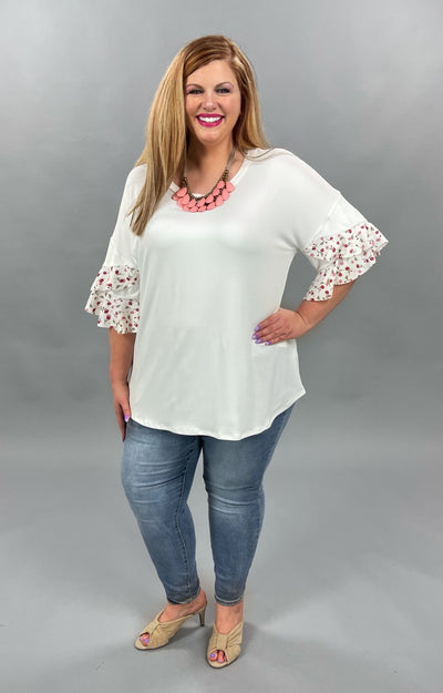 62 SD-B {Garden Views} White Top with Floral Detail PLUS SIZE XL 2X 3X