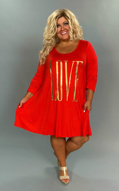 "GT-O  ""LOVE"" Red Tunic or Dress with Pockets Extended Plus"