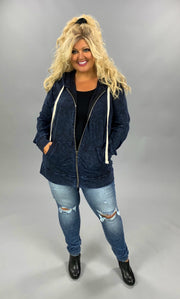 HD-A {Worth The Wait} Sapphire Blue Mineral Wash Hoodie Jacket  PLUS SIZE 1X 2X 3X SALE!!