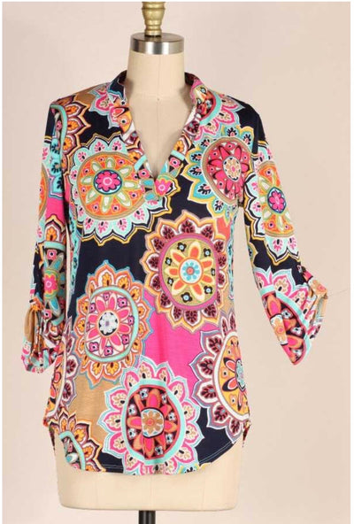 47 PSS-I {Colorful You} Multicolor Mandala Print PLUS SIZE 1X 2X 3X