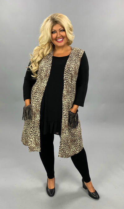 OT-Y {Winding Down} Leopard Vest Black Stud Fringe Pocket PLUS SIZE XL 2X 3X