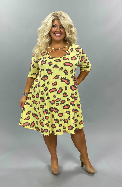 47 PSS- H {Wild and Free} Yellow Coral Animal Dress EXTENDED PLUS SIZE 3X 4X 5X