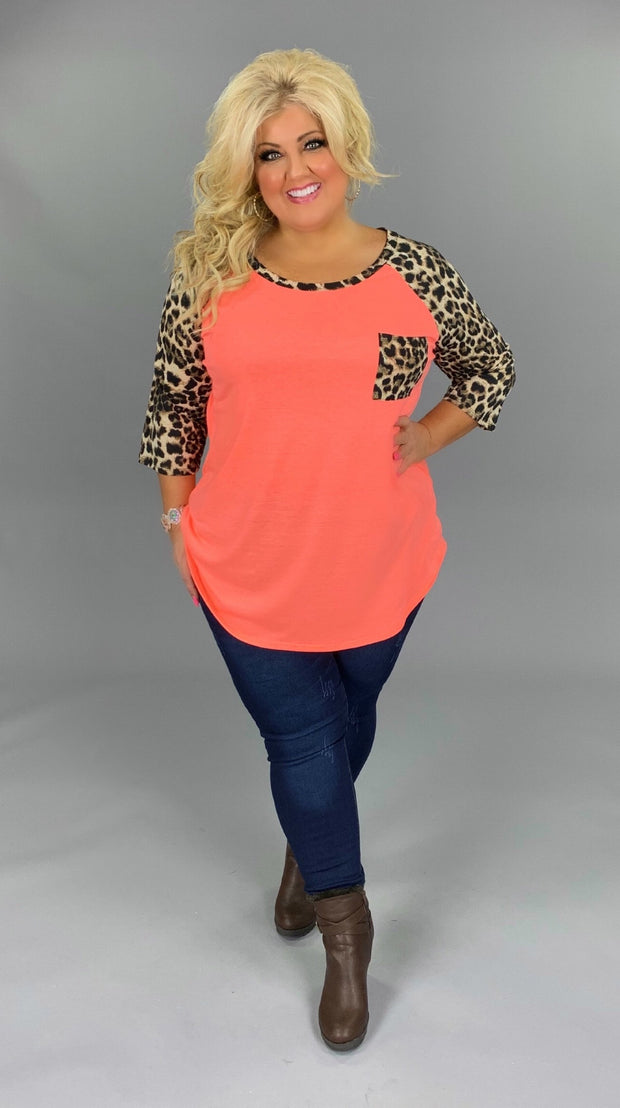 53 CP-B {Must Be Magic} Coral Tunic with Leopard Contrast Curvy Brand Extended Plus 3X 4X 5X 6X