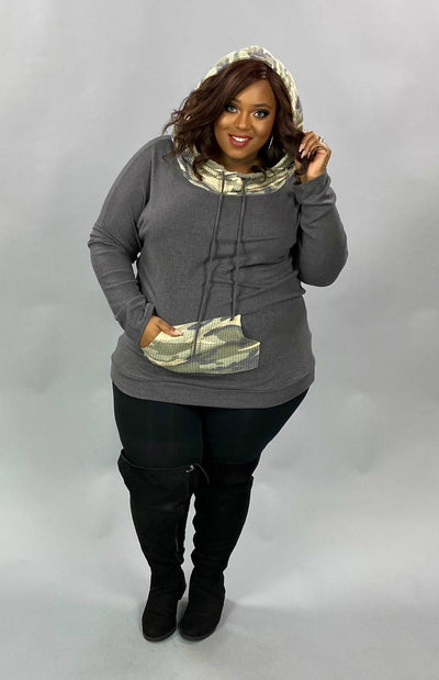 23 HD-G {Catch Some Love}  SALE!! Grey Camo Contrast Hoodie PLUS SIZE XL 2X 3X