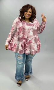 PLS-D {Draw You In} Mauve Tie Dye V-Neck Tunic EXTENDED PLUS SIZE 3X 4X 5X