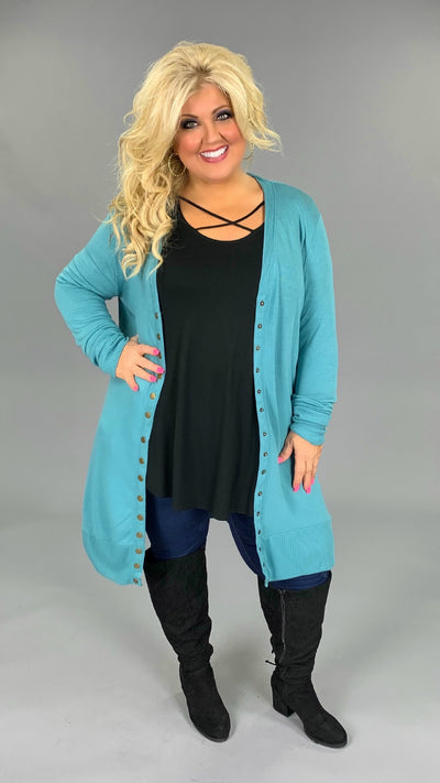 OT-L {Making A Statement} Teal Snap Cardigan Sweater PLUS SIZE 1X 2X 3X