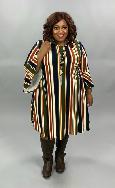 PQ-Z {Looking For More} Olive Navy Stripe Butter Soft Dress EXTENDED PLUS SIZE 3X 4X 5X