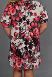 PSS-P {A Fool For You} Red/Gray Floral Print Dress with Pockets