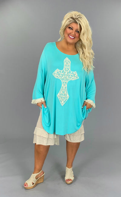 GT-I {Most Loved} Mint 3/4 Sleeve Tunic W/Crochet Cross EXTENDED PLUS SIZE 3X 4X 5X 6X