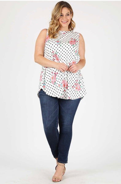 SV-O {Bring Back The Good Times} Floral Polka-Dot Top Extended Plus